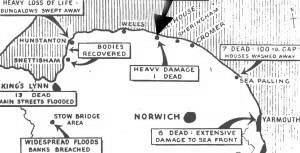 East Anglian Floodmap, showing the position of Salthouse on the top of the bulge