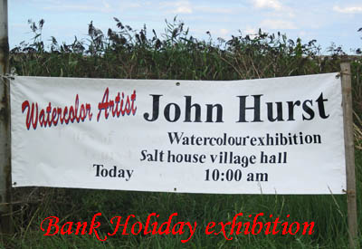 Bank Holiday Exhibition in the Village hall by Watercolourist John Hurst of Salthouse