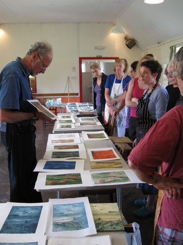 Sally Lawford's photos of Laurie Rudling's Print-making Workshop 2009