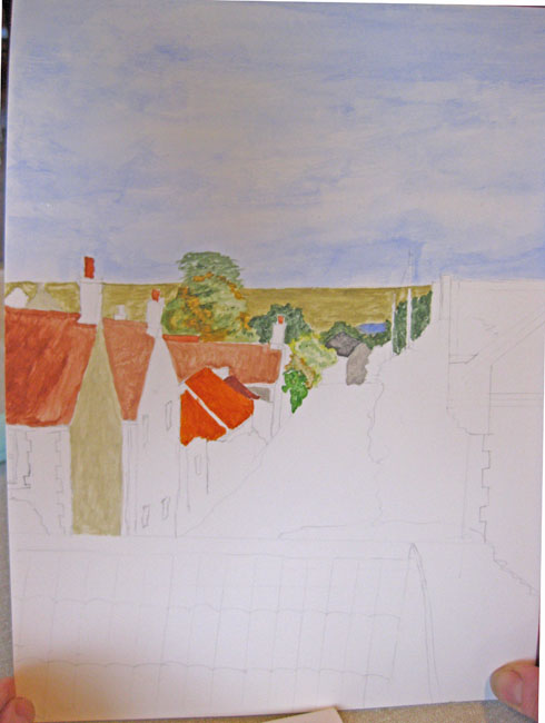 the view from Muriel's window down Cross Street (in progress)