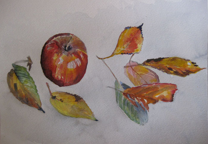 Sue L's apple and autumn leaves