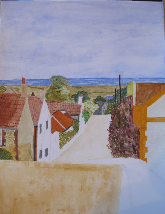 Muriel's view of Cross Street from her bedroom window  advancing rapidly