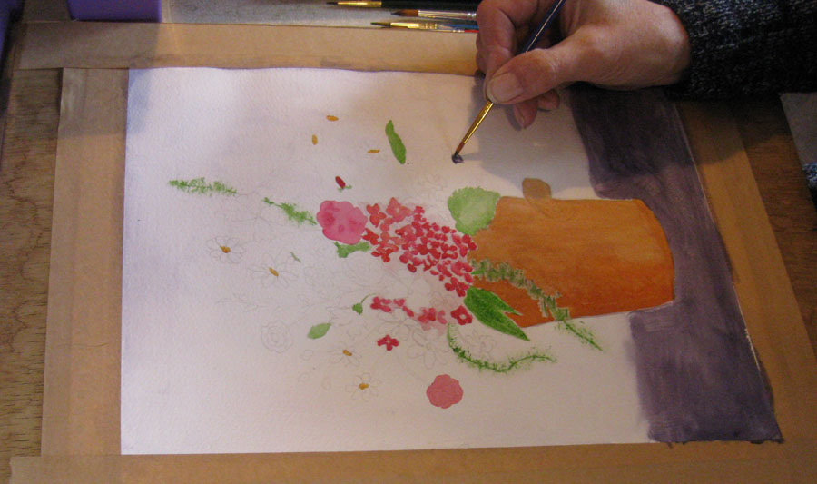 Virginia's flower picture in process