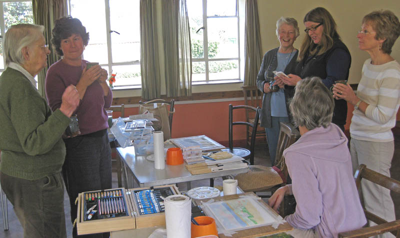 the group discussing next week some of us will do a 10 minute watercolour from Haxel Soan's little book!!