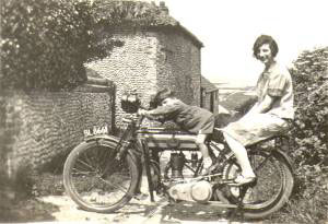 Ken aged 3 with sister Nora's boy-friend's motorbike, at the top of Grouts Lane