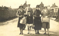 Elizabeth High with some of her family at the bottom of Cross Street