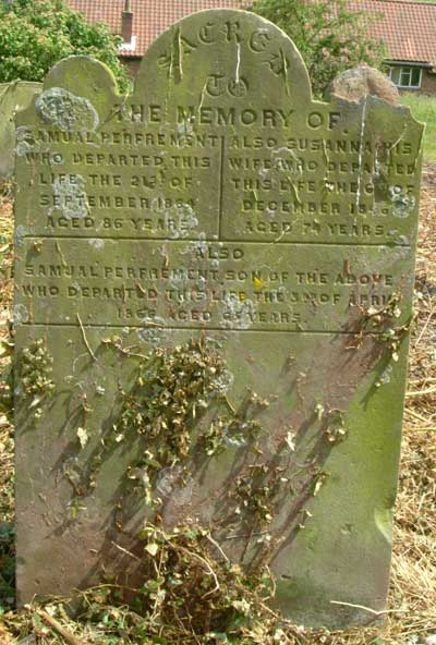 the Perfrement grave in Salthouse churchyard