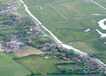 salthouse village from the air showing marshes and sea