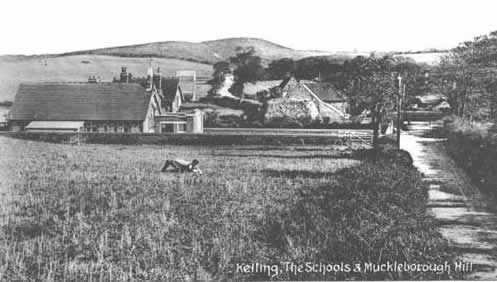an old postcard shows Kelling School in the early 1900s