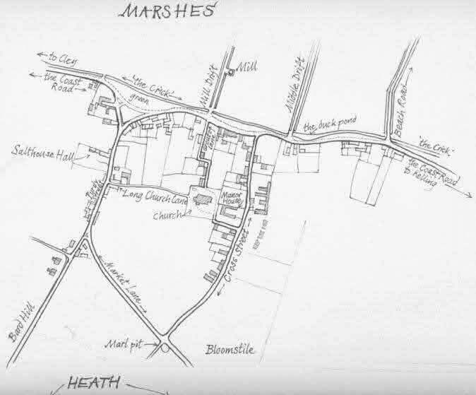 sketch-map of Salthouse village  with hotspots